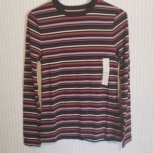 Striped Long Sleeve Maroon Small a new day Top